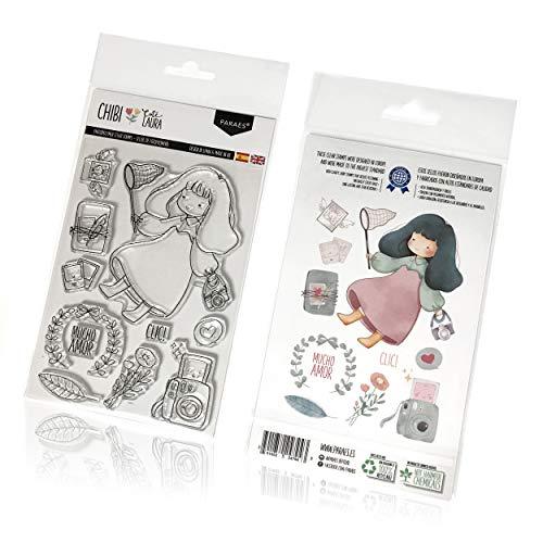 PARAES Sellos scrapbooking silicona fotopolímero (12 piezas individuales) - Cute Laura - Alta calidad - scrapbook - álbum de fotos - Scrapbooking materiales