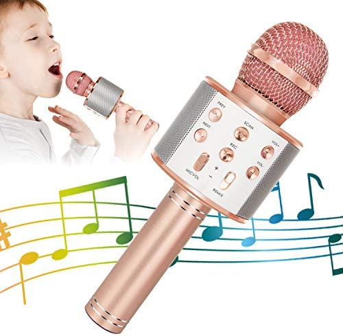KIDWILL Wireless Bluetooth Karaoke Microphone 5 in 1 Portable Handheld Karaoke Mic Speaker Player product image