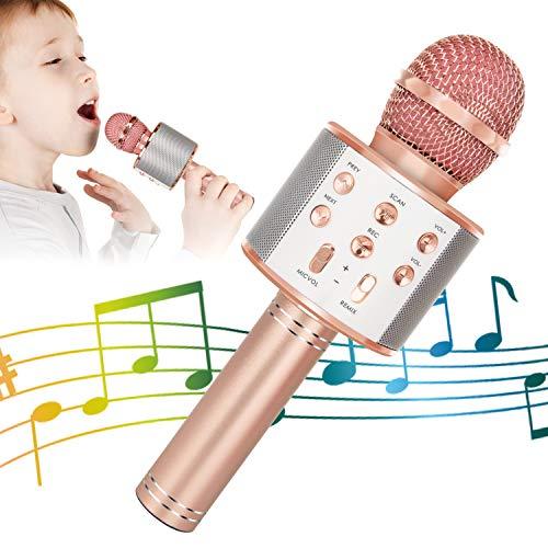 Wireless Bluetooth Karaoke Microphone for Kids, 5-in-1 Portable Handheld Karaoke Mic Speaker Player Recorder with Adjustable Remix FM Radio for Kids Girls Boys Teens Birthday (Rose Gold)