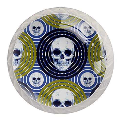 Perillas de Gabinete Redondas Arte del cráneo del círculo Perillas de Cajón 35mm Tiradores de Muebles con Tornillo Perillas Manijas para Armario Cajón Aparador Cocina 4 Piezas