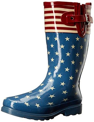 Western Chief Women's Waterproof Printed Mid Height Rain Boot, Flag Top Pop, 11