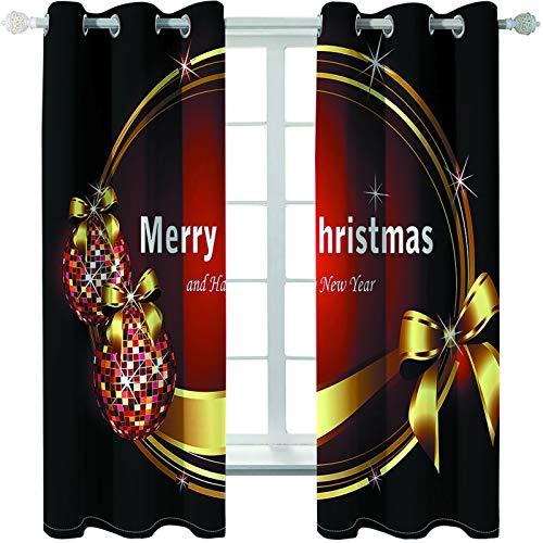 MMHJS Cortinas De Impresión 3D De Árboles De Navidad, Impermeables, Aislamiento Térmico Y Calor, Cortinas Gruesas De Poliéster, Artículos para El Hogar, Decoraciones De Pared (2 Piezas)