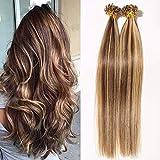 Extension Cheveux Naturel Keratine 1G Pose à Chaud 50 Mèches - 100% Vrai Cheveux Humain Rajout 16 Pouce(40CM) - #4+27 MARRON CHOCOLAT MECHE BLOND FONCE
