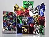 Set de paquetes para regalo.Con acabado metalizado. Talla pequeña.Sobres de polipropileno de colores surtidos con cierre adhesivo (30 unidades) y30 lazos a juego, adecuados para regalos navideños.