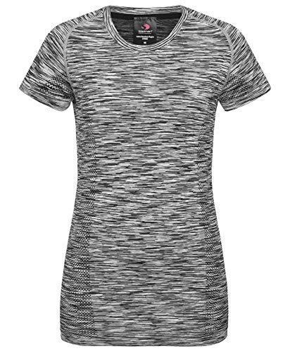 Stedman Sport-Shirt für Damen, Zweifarbiges Jacquard-Muster, Raglan-Ärmel, Black Opal Melange, L