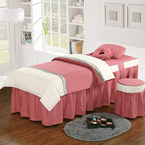 Round Head Polyester Beauty Bed Cover, Simple Comfortable Massage Table Sheet Sets Bedspread with Face Rest Hole Massage Linens-Pink 70x185cm(28x73inch)