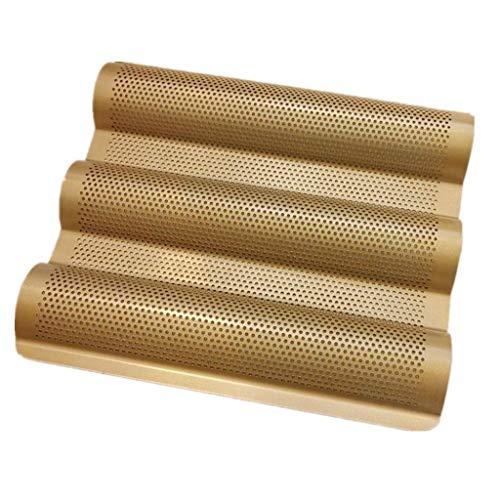 Eariy Brotbackblech Baguetteblech Baguette Pan,Antihaft-Baguette Pan für 3 Baguettes 38,5 x 28 cm Baguetteform,Küchen Backform aus Kohlenstoffstahl