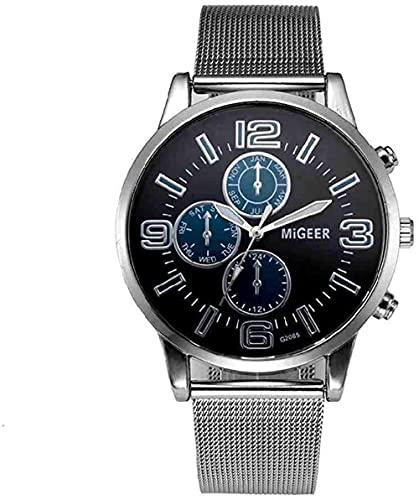 JZDH Mano Reloj Reloj de Pulsera Moda de Plata Malla de Cuarzo Metal Metal Metal Vestido de Acero Inoxidable Relojes Relogiono Reloj de Regalo Relojes Decorativos Casuales (Color : Navy)