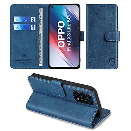 FMPC Hülle kompatibel mit Oppo Find X3 Lite 5G/Reno5 5G,Flip Handyhülle Ständer TPU Brieftasche Magnetische Klapphülle Ledertasche Hülle für Oppo Find X3 Lite 5G/Reno5 5G Schutzhülle,Blau