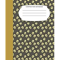 Composition Notebook: 7.5X9.25 Inch 109 Pages Halloween Themed Skulls Half Blank Half Wide Ruled School Exercise Book With Picture Space For Kids and Adults - Grades K2 Primary Elementary Secondary School Kids - Draw And Write Your Own Stories