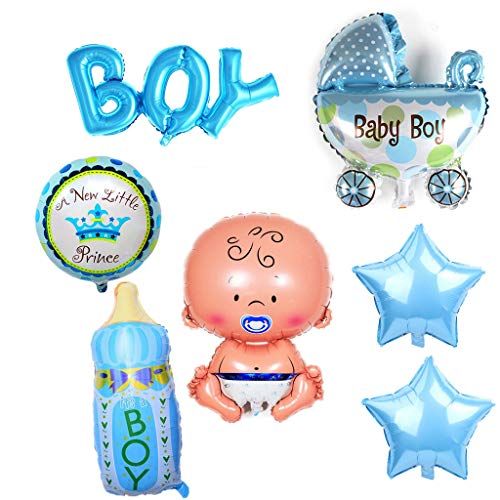 Crazy-M 7 Pezzi Palloncino a Elio Baby Foil Palloncino Baby Shower Decoration, Babyshower È Un Ragazzo Baby Shower Party And Decoration (Boy)
