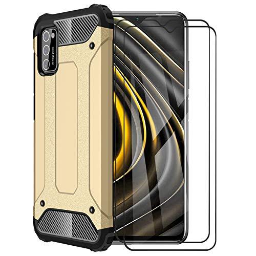 FINEONE® Funda para Xiaomi Poco M3, protección contra Golpes de TPU + PC Resistente a arañazos (Doble Capa) Carcasa para Xiaomi Poco M3, Oro + 2 Piezas Protector de Pantalla