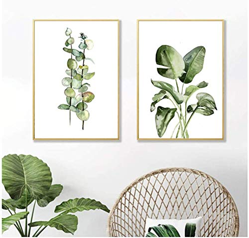 Refosian Acuarela Plantas verdes Carteles e impresiones Arte de la pared Pintura en lienzo Cuadro nórdico para la sala de estar Decoración del hogar 40x50cm / 15.7x19.6 en Sin marco