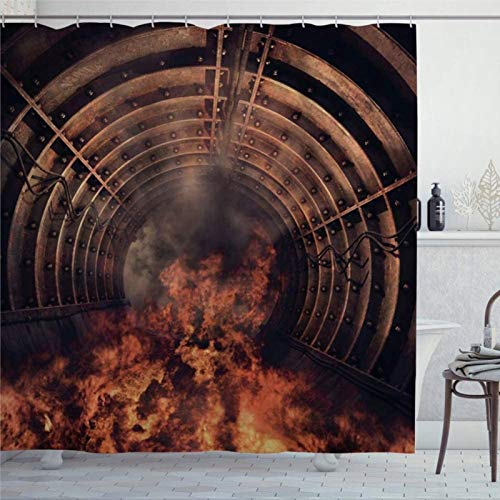 EricauBird Duschvorhang Feuer im Tunnel rote Flamme alte Industrie Tunnel mit Rauch Duschvorhang mit Ringen Polyestergewebe Duschvorhänge mit Haken Bad Badezimmer Dekor