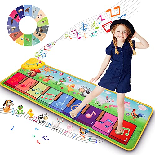 Ysoazgle Kids Piano Mat mit über 90 Sounds, Musik Tanzmatte für Kleinkinder, Kinder Tastaturmatte Musikalische Spielmatte Musikspielzeug für Kleinkinder Jungen Mädchen Mädchen 1-5 Jahre