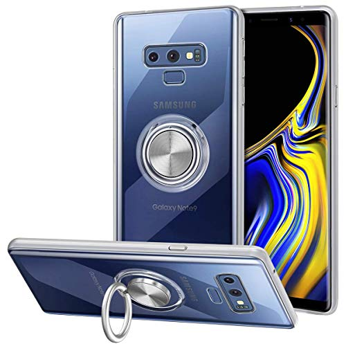 VUNAKE Galaxy Note 9 Hülle, Silikon TPU Hülle Cover mit 360 Grad Ring Stand dünn Handyhülle Magnetische Autohalterung Slim Schutzhülle Fingerhalter Handgriff Weiche Tasche für Samsung Galaxy Note 9,Clear