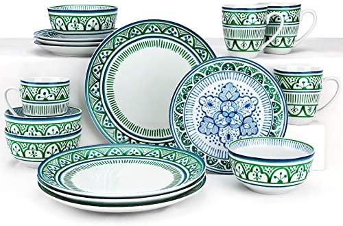 ZYAN Stoneware Dinnerware Set include Plates Dishes Bowls and Mugs 16 Piece Green Moroccan Bazaar product image