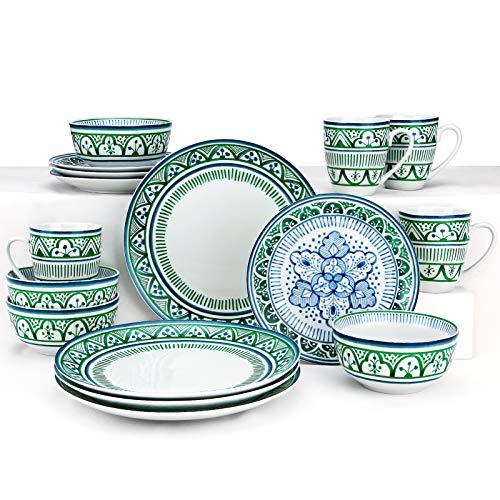 ZYAN Vajilla redonda de gres de 16 piezas, juego de platos de la serie Bazar marroquí verde para uso interior y exterior, servicio para 4