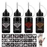 Comdoit Temporary Tattoo Kit Jagua Gel Semi Permanent Tattoo Freehand Ink DIY Temp Tattoos for Women Kids Men Body Art Painting DIY Tattoos Fake Freckles 35 Pcs Tattoo Stencils - Full Kit 4 Bottles