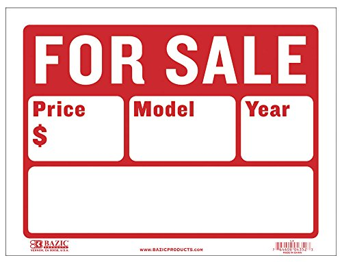 BAZIC 9' X 12' For Sale Sign for Car and Auto Sales (2-Line) (S-2)