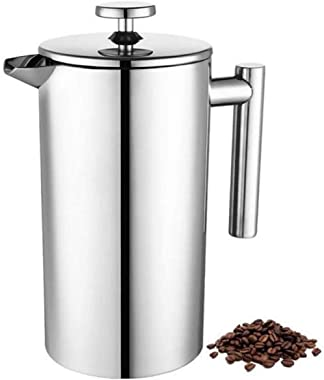 Coffee maker with stainless steel filter, coffee pot, French press system with the double walls are made of 18/10 stainless s