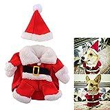 SYMTOP Disfraz Navideño de Papá Noel para Perro Pequeño con Gorro de Navidad para Mascotas Accesorios Fiesta de Navidad Party Foto de Vacaciones de Invierno - L