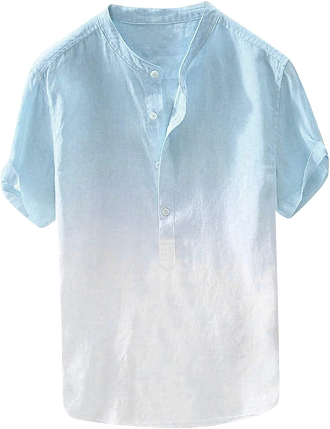 Mens Big and Tall Button Down Shirts Casual Summer Short Sleeve Tops Tie Dye Printed Round Neck T-Shirt Beach Tees