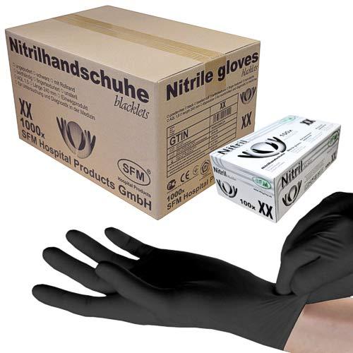 SFM ® BLACKLETS Nitril : XS, S, M, L, XL schwarz puderfrei F-tex Einweghandschuhe Einmalhandschuhe Untersuchungshandschuhe Nitrilhandschuhe M (1000)