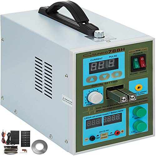 Mophorn 788H Pulse Spot Welder 0.3mm Battery Welding Machine 110V Battery Spot Welder & Soldering Station Portable Pulse Welding Machine For Battery Pack 18650 14500 Lithium Batteries