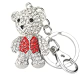 Quadiva Bag Charm Teddybär - Teddy - Bär - Taschenanhänger für Damen (Farbe: Silber/rot) mit Kristallen besetzt