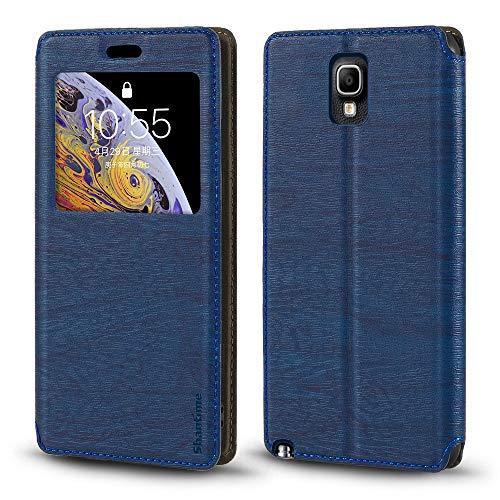 Schutzhülle für Samsung Galaxy Note 3 Neo LTE+ N7505, luxuriös, Holzmaserung, Leder, Kartenfach, Sichtfenster, blau