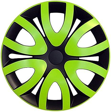 Eight Tec Handelsagentur Größe Wählbar 14 Zoll Radkappen Radzierblenden Mika Schwarz Grün Passend Für Fast Alle Fahrzeugtypen Universal Auto