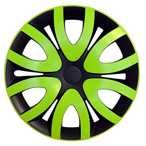 Eight Tec Handelsagentur (Größe wählbar) 14 Zoll Radkappen/Radzierblenden MIKA Schwarz/Grün passend für Fast alle Fahrzeugtypen – universal