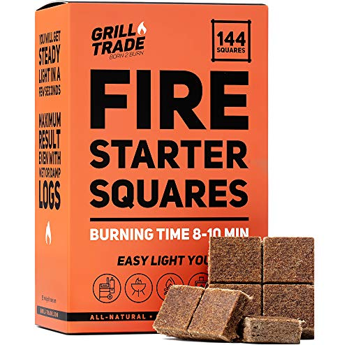Grill Trade Fire Starter Squares 144, Easy Burn Your BBQ Grill, Camping Fire, Wood Stove, Smoker Pellets, Lump Charcoal, Fireplace - Fire Cubes are The Best Barbeque Accessories - 100% All Natural