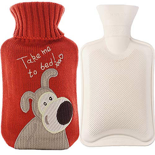 Premium Rubber Hot Water Bottle, for Pain Relief, Hot and Cold Therapy (1L, Red, Lucky Dog)