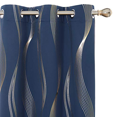 Deconovo Foil Golden Printed Wave Thermal Insulated Grommet Blackout Curtain Panels for Kids Room Set of 2 42x72 Inch Navy Blue