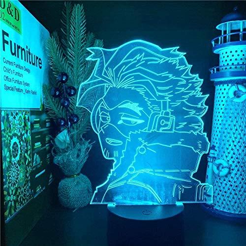 Tatapai Luz nocturna 3D Ilusión Led Lámparas Decoración Lámpara para Niños Anime Boku No Héroe LED Hawks My Hero Academia Academia Decoración del Hogar De Noche Dormitorio Dormitorio Decoración