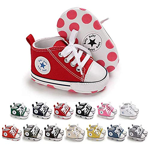 SABATUTU Unisex Baby Boys Girls Shoes Star High Top Ankle Toddler Sneaker Soft Anti-Slip Sole Newborn Infant First Walkers Canvas Denim Crib Shoes (11cm, Star Orange, 0_Months)