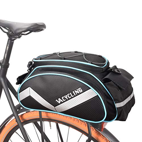 VERTAST Fahrrad Gepäckträger Tasche Wasserdicht Multifunktionale Packtasche für Fahrrad Sitz Outdoor Fahrrad Korb Schulter Handtasche 13L Schwarz & Blau
