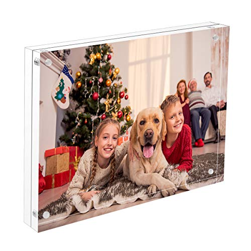 8x12 Photo Frame, NIUBEE Clear Acrylic Floating Double Sided Picture Frame, Free Standing Desktop Display Holder with Gift Box
