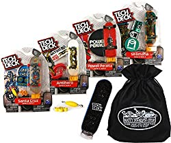 """TECH DECK 96mm Individual Fingerboards Gift Set Party Bundle with Bonus Exclusive Mattys Toy Stop Storage Bag - 4 Pack (Assorted Styles)"""