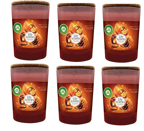 Airwick Life Scents Cosy by The Fire Candle - Vela aromática (6 x 185 g, Importante)
