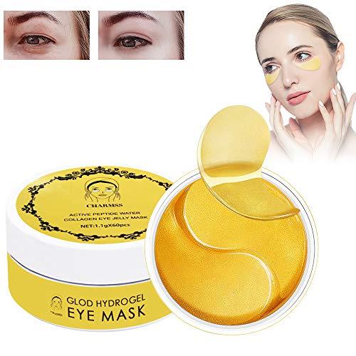 Charmss Maschera per gli occhi, Collagene rilievi dell'occhio, D'oro Eye Mask Anti-rughe ed anti-età,Contorno occhi occhiaie,Ridurre borse, Occhiaie e puffiness cura occhi (60Pcs,oro).