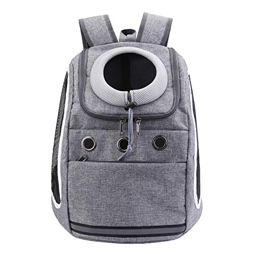 Mogoko Comfortable Dog Cat Carrier Backpack, Puppy Pet Front Pack with Breathable Head Out Design and Padded Shoulder for Hiking Outdoor Travel(Grey)