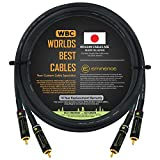 3.5 Foot – Audiophile High-Definition Audio Interconnect Cable Pair Custom Made by WORLDS BEST CABLES – Using Mogami 2497 Wire and Eminence Gold Locking RCA Connectors
