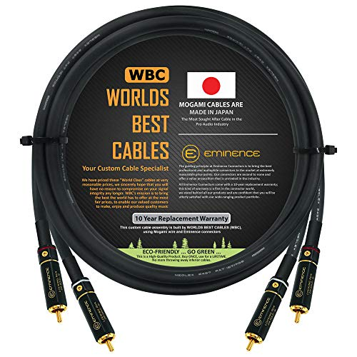 2.5 Foot – Audiophile High-Definition Audio Interconnect Cable Pair Custom Made by WORLDS BEST CABLES – Using Mogami 2497 Wire and Eminence Gold Locking RCA Connectors