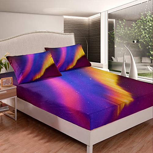 Galaxy Bed Sheet Set Colorful Stripe Design Fitted Sheet for Kids Boys Girls Teens Starry Sky Bedding Set Modern Bed Cover Breathable Room Decor 3Pcs Sheets Double Size