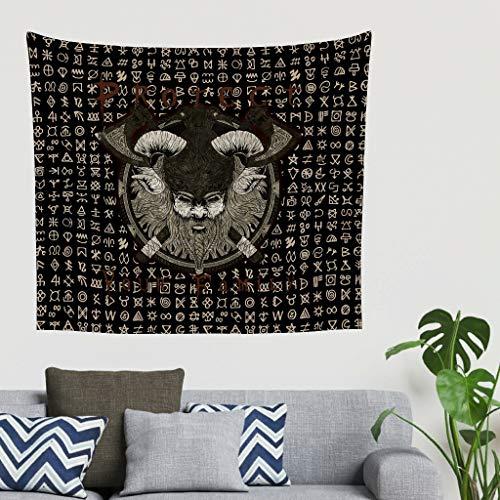 Zigeuner Vintage Scandinavisch Viking Oorloggers Bart kruis bijlen Odins raven schild grafische muurbehang tapijt abstract Gobelin wanddecoratie strandkleed hoofdeinde achtergronddoek 40 * 59 wit