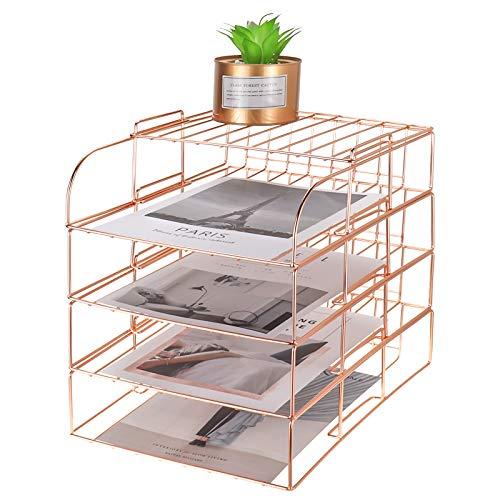 MORIGEM 4 unidades de escritorio A4 bandeja apilable para documentos de escritorio, bandeja de papel de alambre de metal para el hogar, la escuela y la oficina, organizador de escritorio de oro rosa