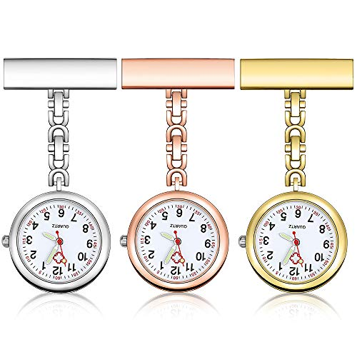 Anpro Nurse Watch,3pcs Silver/Rose Gold/Gold Fob Watch for...